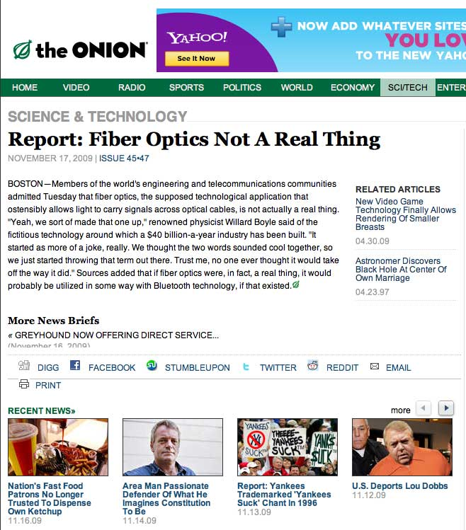 Fake News: Fiber Optics Is Not Real