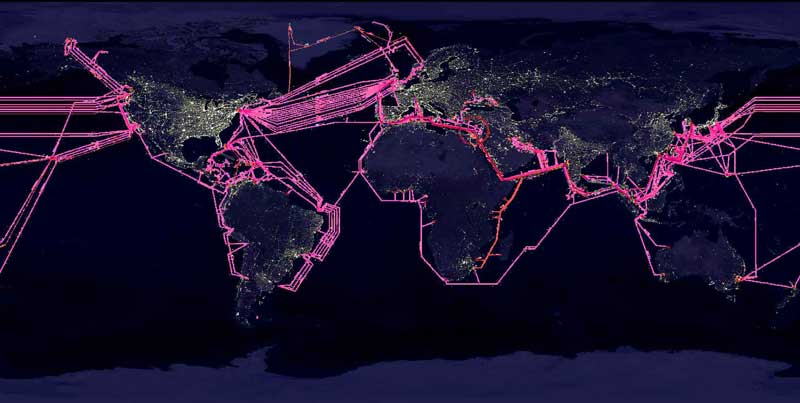 Earth with submarine fiber optic cables